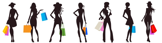 Image showing female silhouettes with shopping bags