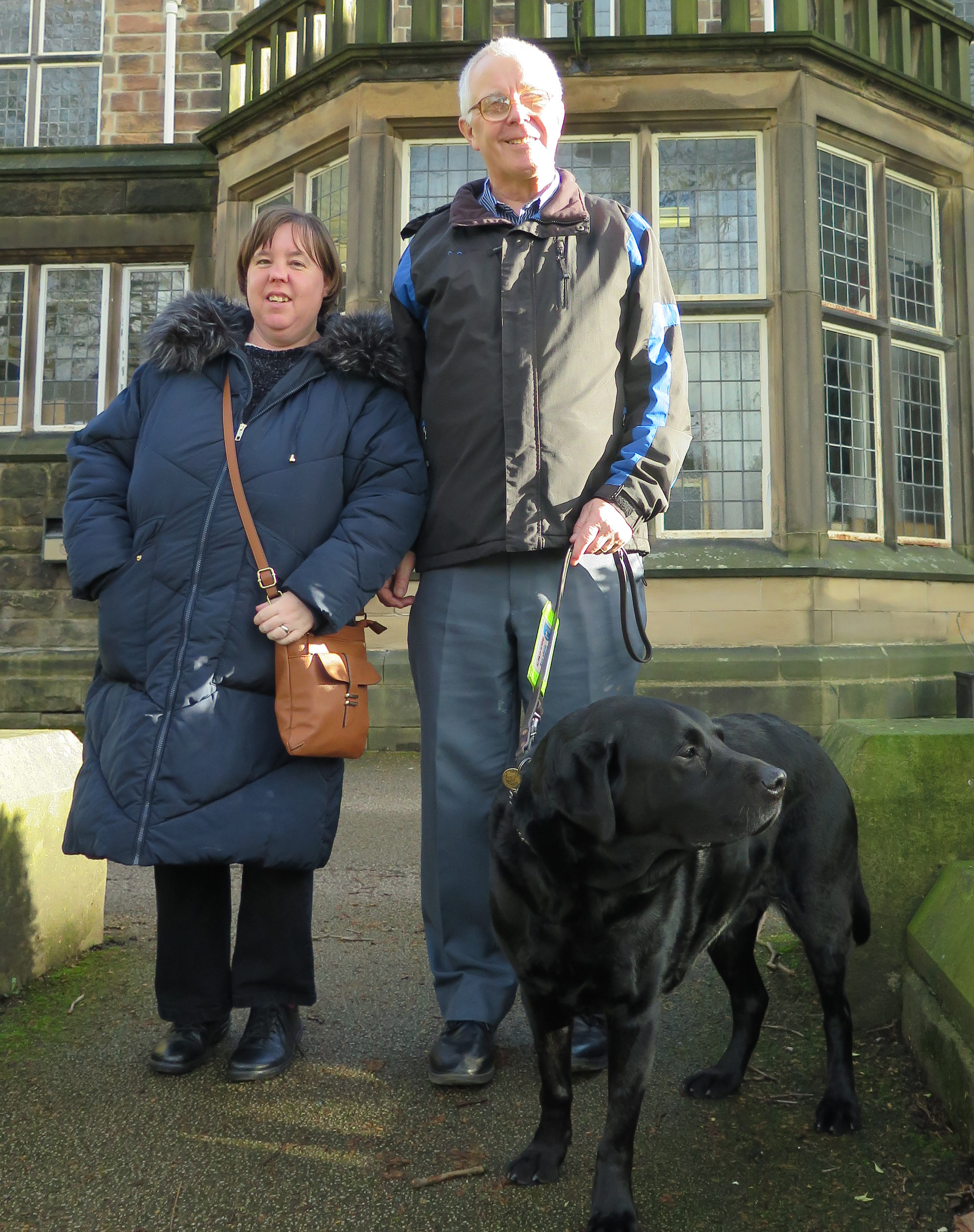 Image showing visually impaired man with assistance dog