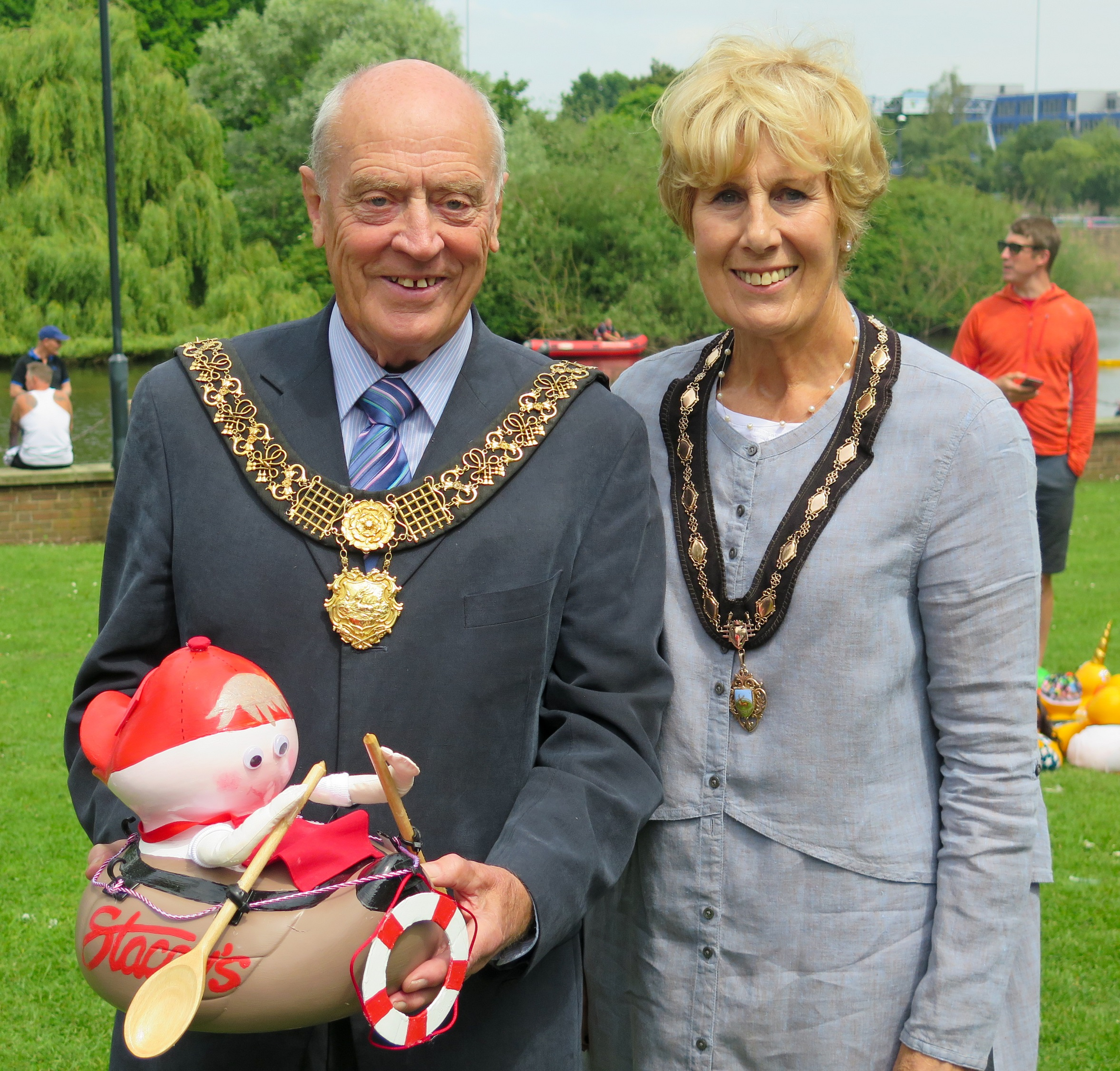 Image showing Derby Mayor and Mayoress with winning duck