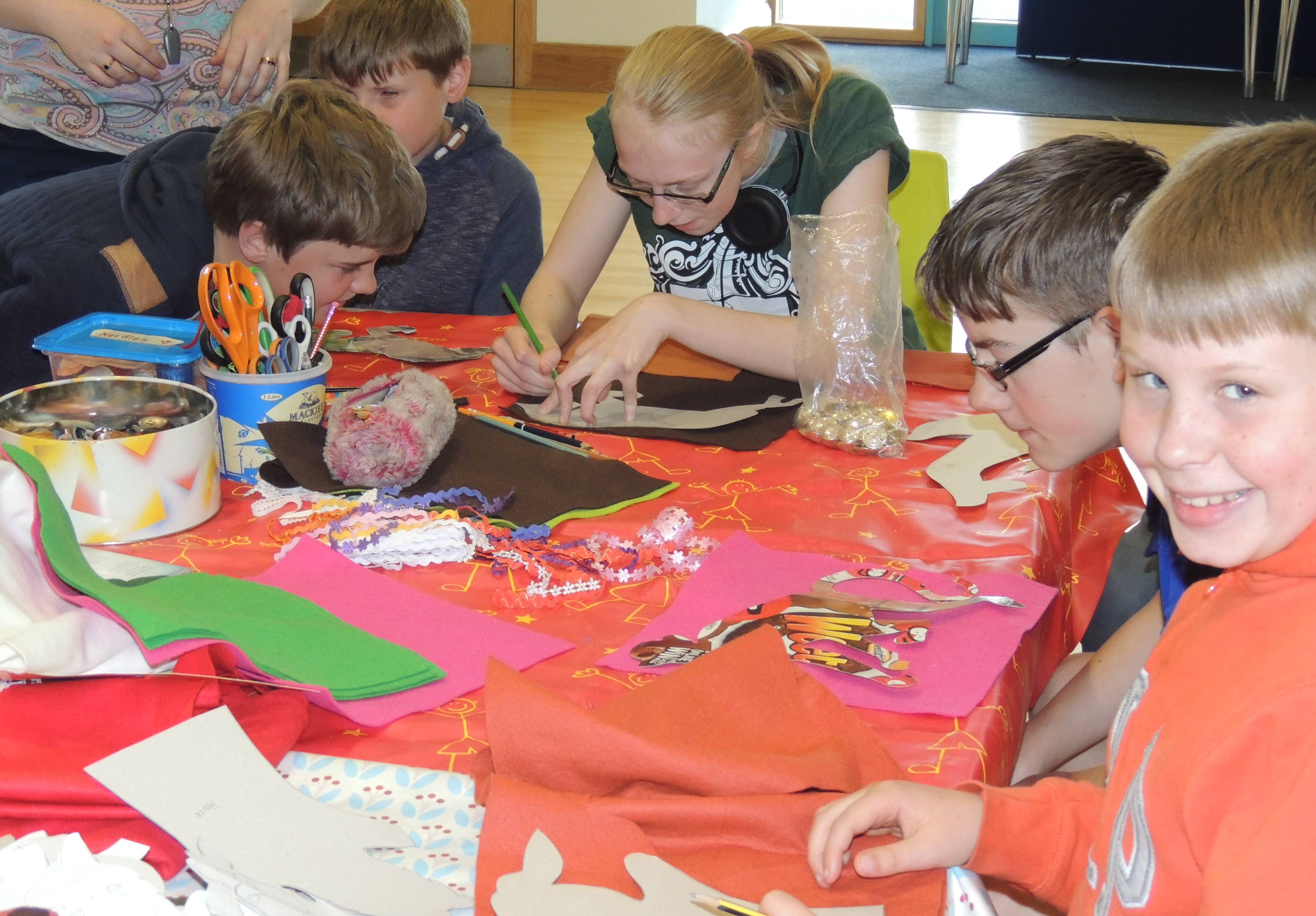 Image showing a group of young people doing arts and crafts
