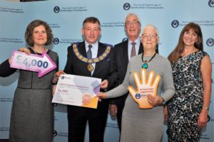 Image showing Sight Support receiving a donation from Derbyshire Freemasons