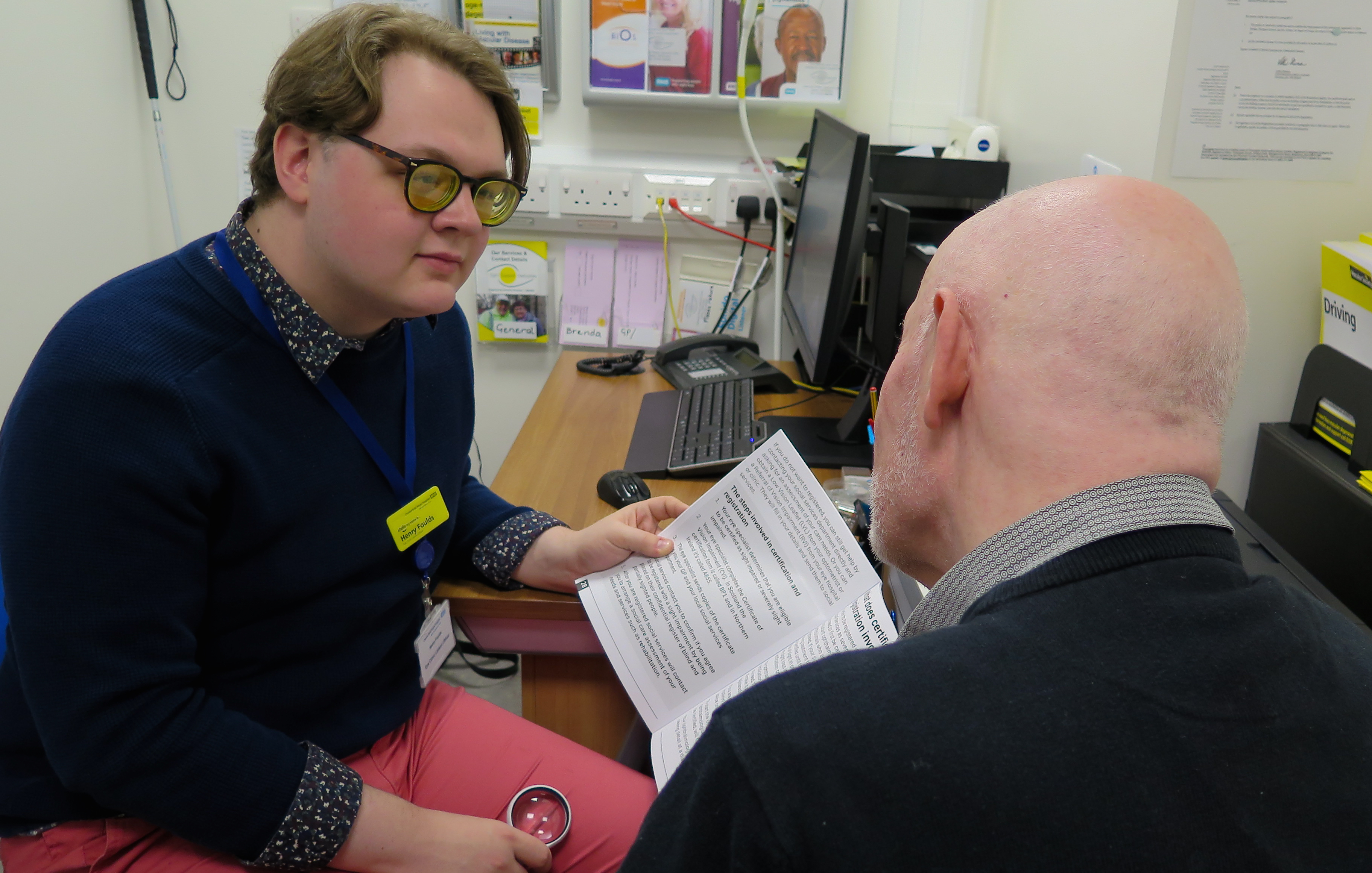 Image showing a man receiving Hospital Advice Service
