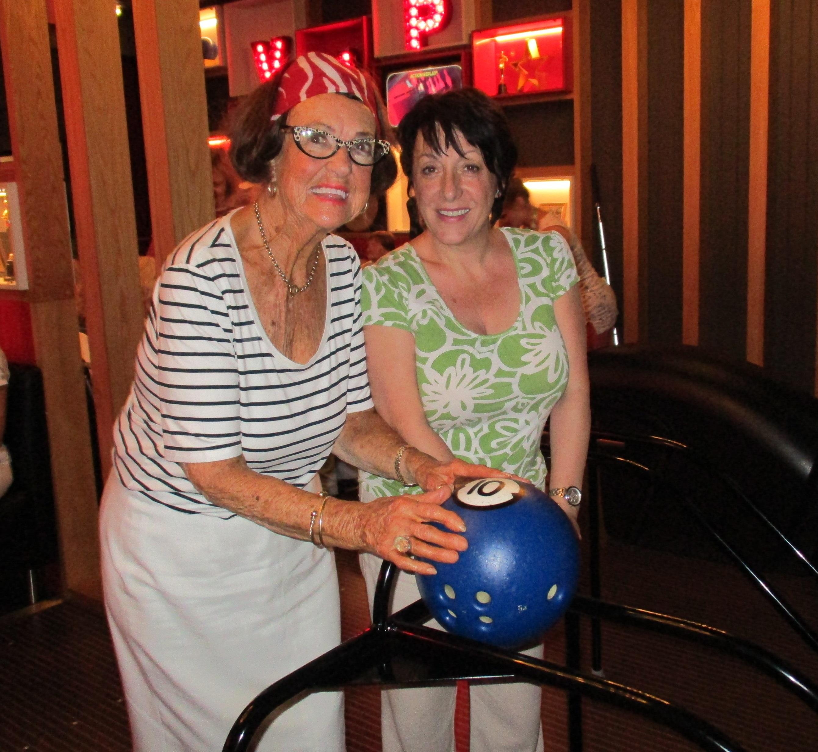 Image Showing two women enjoying a bowling trip