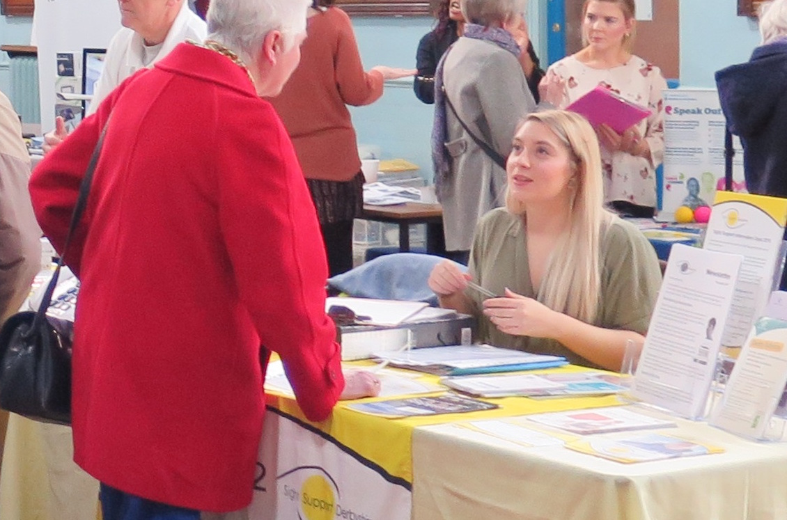 Image showing two women talking at Sight Support Information Day