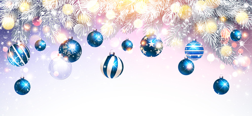 Image of blue bauble Christmas decorations with fir branches and a snowy sparkling background.