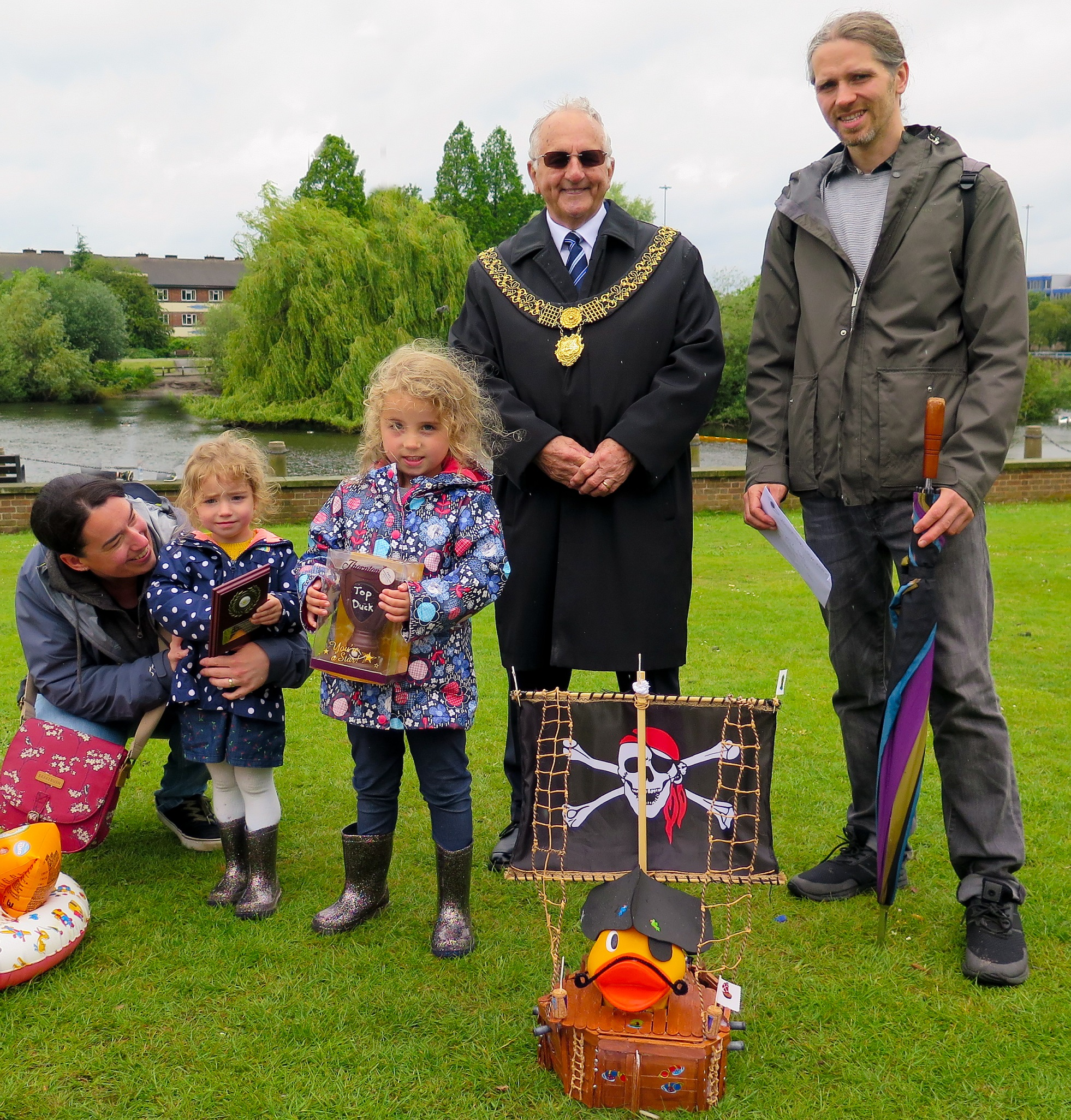 Best dressed duck winner Gordon Smith with Pirate Duck and family