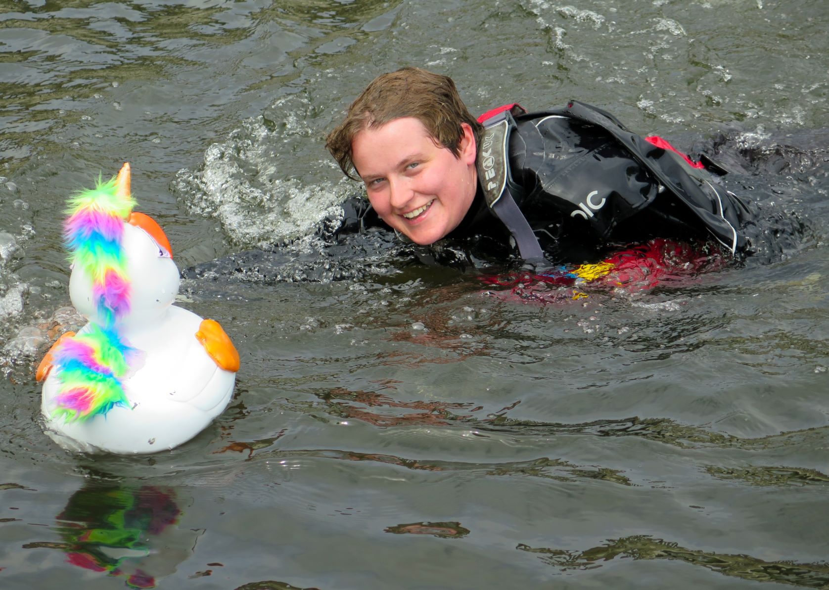 Watersafe diver and unicorn duck