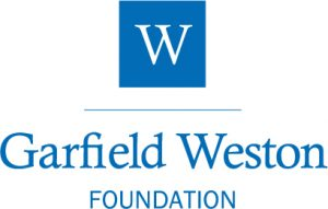 Blue square with a white 'W' logo and the words Garfield Weston foundation written in blue beneath. White background.