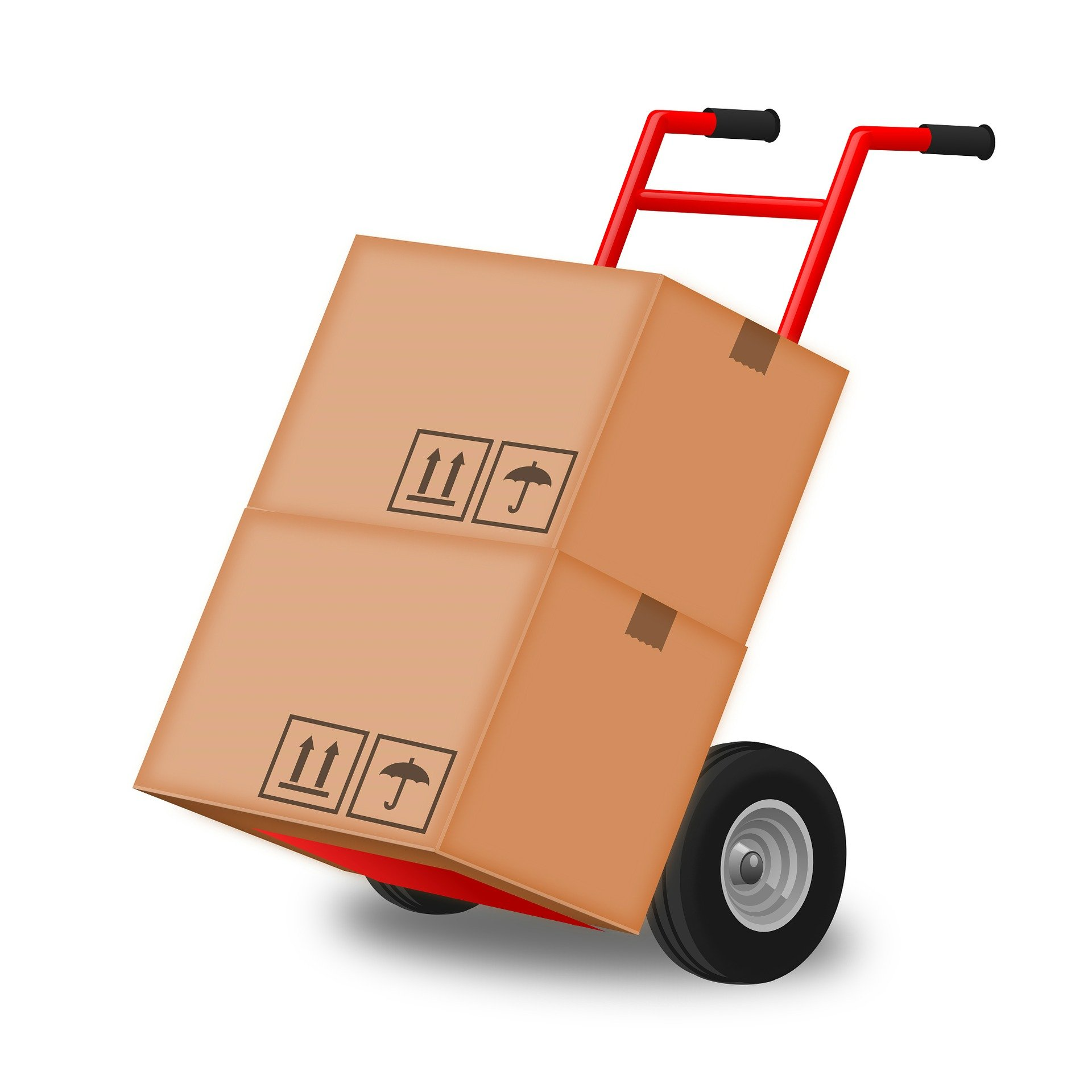 Red moving trolley with 2 large cardboard boxes on it